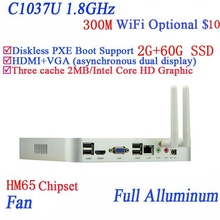 Real power faction  Celeron 1037U dual core full aluminum living room HTPC Mini pc with USB *4 HDMI RJ45 2G RAM 64G SSD