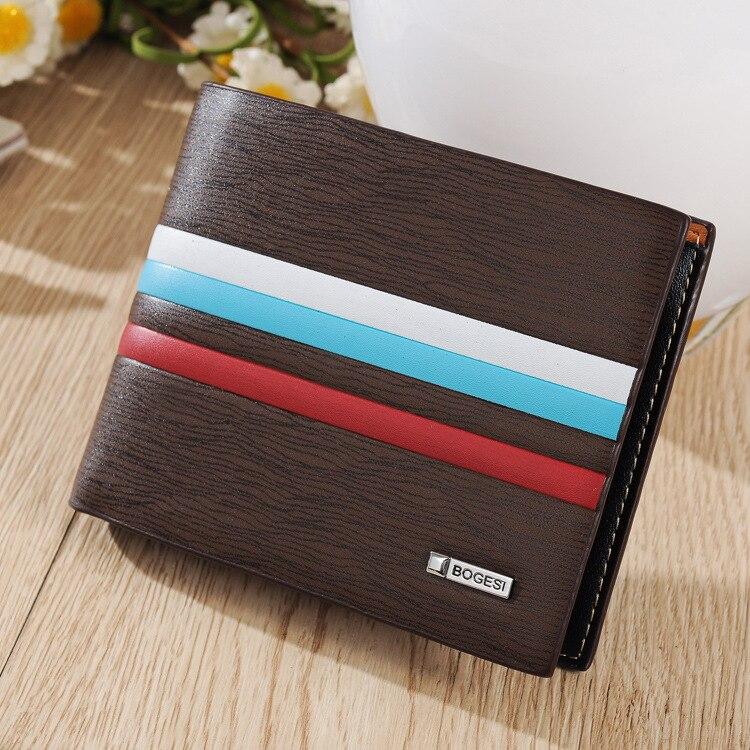 Men's Wallets Thick Stripes Wave Soft Wen Noodles Business Affairs Wallets Fashion New Tide Short Fund Male Card Holder Wallet