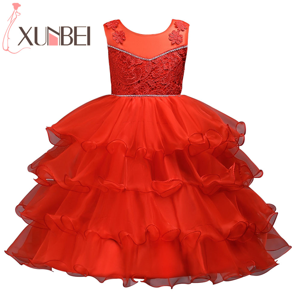 Christmas Red Ruffle   Flower     Girl     Dresses   2019 Lace Beaded Kids Evening Gowns Pageant   Dresses   For   Girls   Communion   Dresses