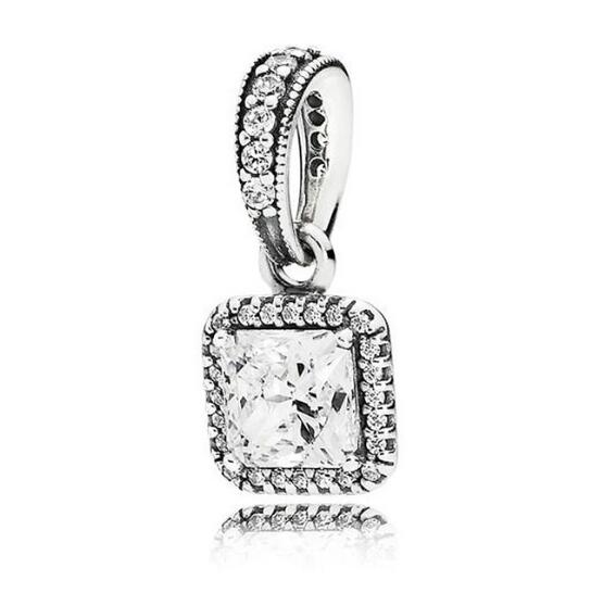 100% 925 Sterling Silver Timeless Elegance, Clear Pendant Charms Fit Pandora Charm Bracelets Women Beads & Jewelry Makings