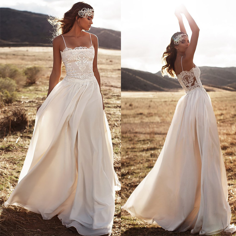 SoDigne Beach Lace Appliques Bride Dress New Spaghetti Straps Wedding Dress 2019 Chiffon Backless Wedding Dress Bride Gowns Boho
