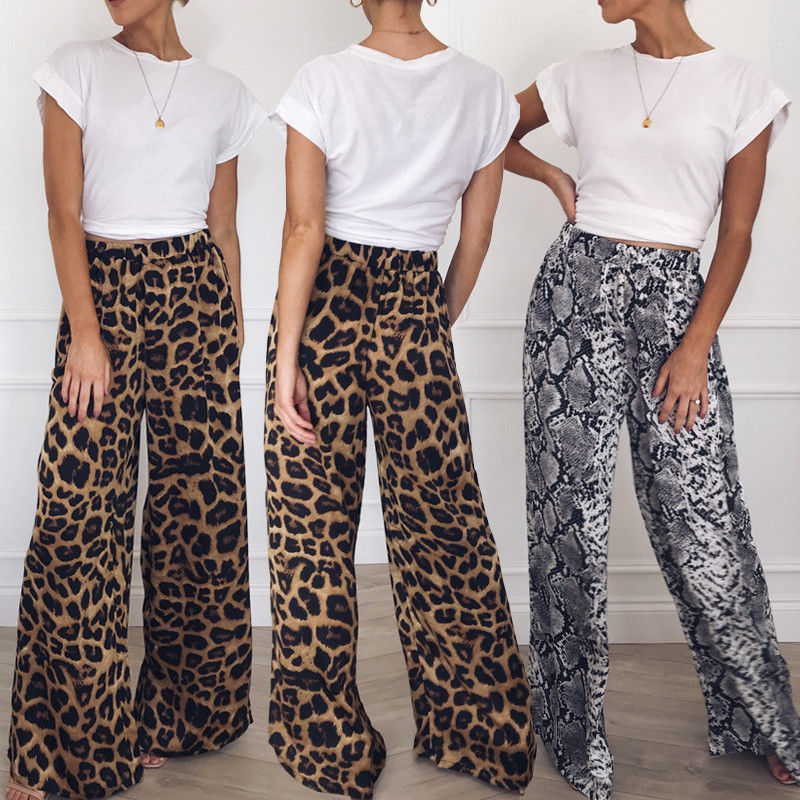 Модные женские брюки с широкими штанинами с высокой талией, леопардовые, со змеиным принтом, Свободные повседневные длинные брюки палаццо размера плюс|Брюки |   | АлиЭкспресс