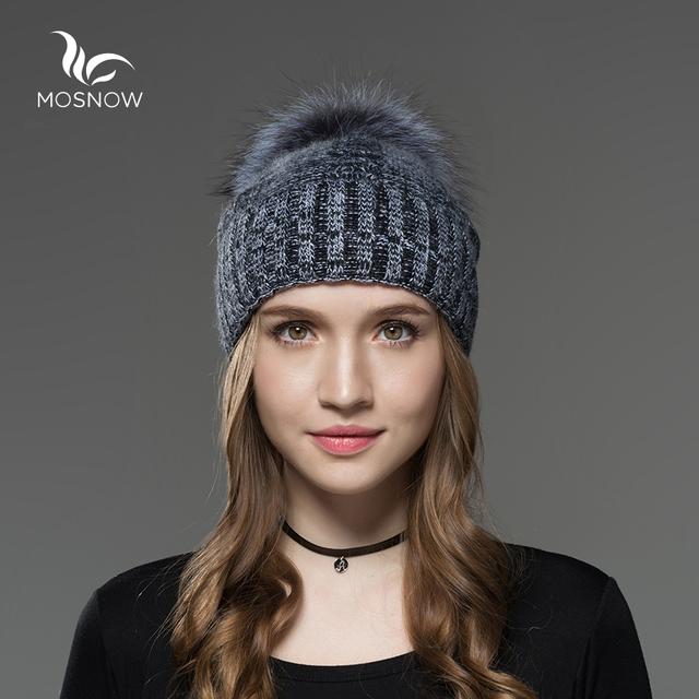 Mosnow Novo Lã de Prata Pele De Raposa Pom Poms Chapéus Para As Mulheres Cor da mistura de Inverno Malha Casual Vogue Quente Chapéus de Inverno Skullies Gorros