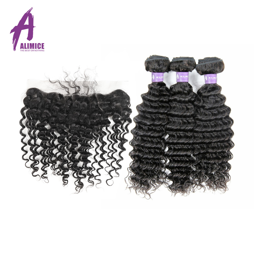Alimice Indian Deep Wave Hair 3 Bundles With Closure Lace Frontal Closure With Hair Bundles Non Remy Human Hair Weaves 4Pcs/Lot