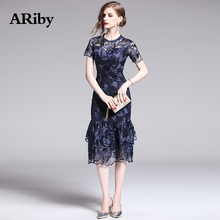 ARiby Women Vintage Lace Sheath Short Sleeve Fishtail Dress 2019 Summer New Fashion Lady Round Collar Embroidered Empire Dress stylish chainmail round collar long sleeve sheath dress for women