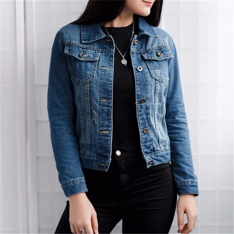 Women Basic Coats Autumn And Winter Women Denim Jacket 2017 Vintage Long <font><b>Sleeve</b></font> Slim Female <font><b>Jeans</b></font> Coat Casual Girls Outwear