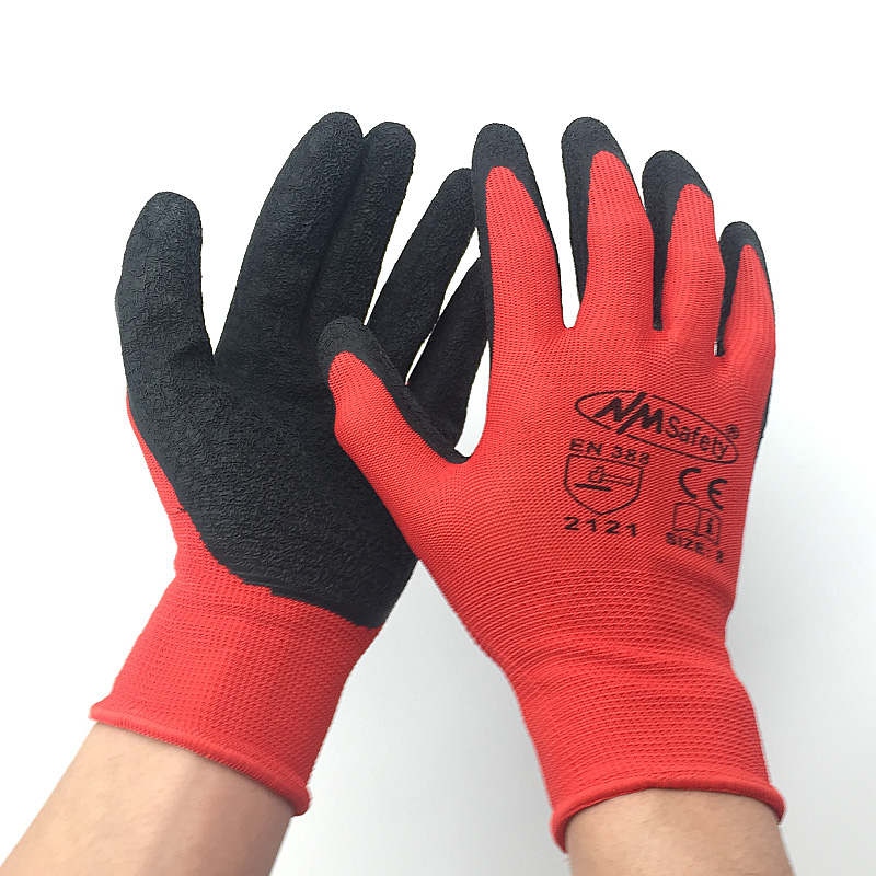 NMSafety Better Grip Ultra-Thin Knit Latex Dip Nylon Red Latex Coated Work Gloves tl084cn dip 14