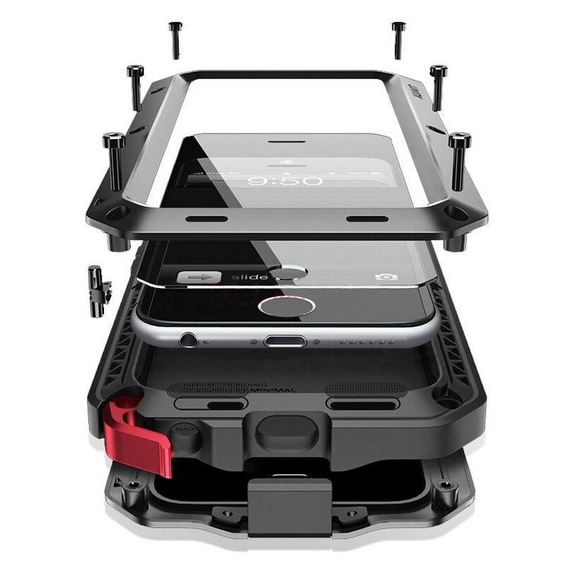 Цена за Мода Алюминиевый Металлический Каркас Чехол для iPhone 7 4.7 дюймов Броня с Gorilla Закаленное Стекло-Экран Протектор для iPhone 7 Plus 5.5