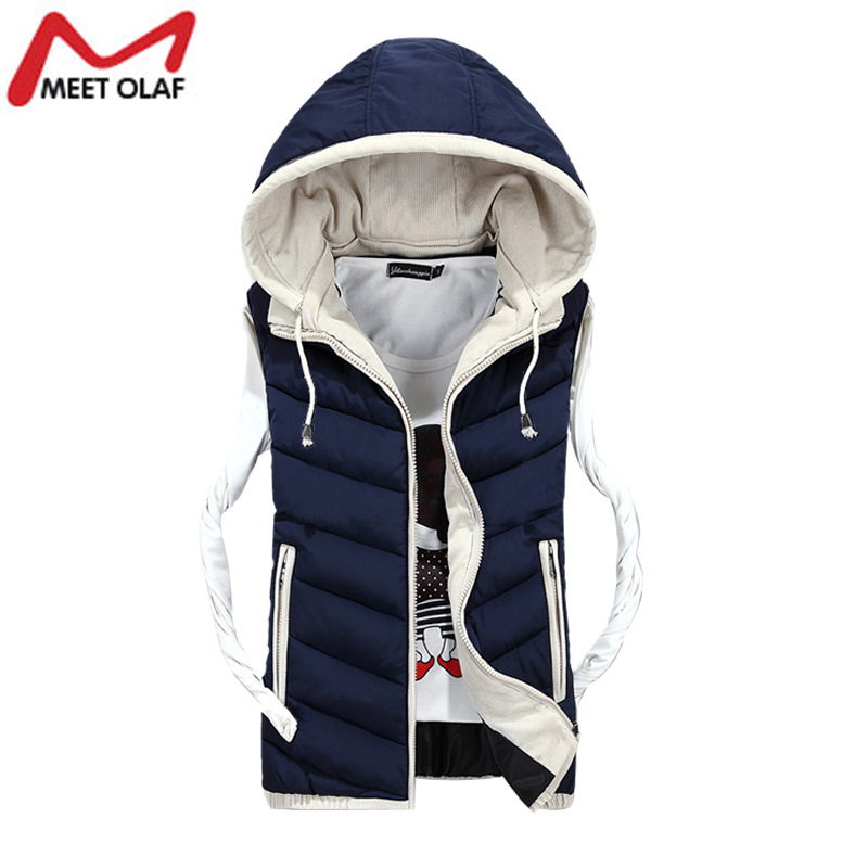 Winter Men Vest Fashion Outerwear Warm Sleeveless Waistcoat Male Hooded Cotton Padded Vest Jacket YL557