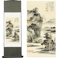 Home Decor Silk ink Scroll decorative silk painting h019 landscape traditional chinese painting