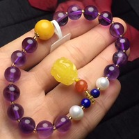Natural Yellow Amber Natural Amethyst Lapis Pearl Multi Layers Female Beads Bracelets for Women