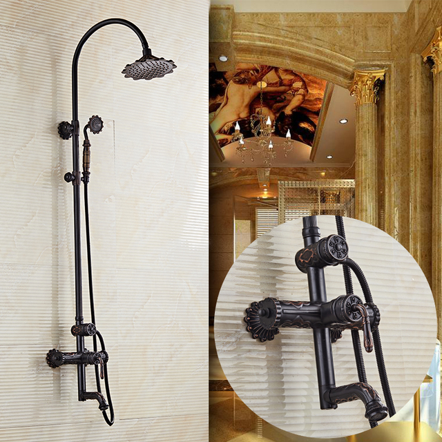 Luxury Black Oil Brushed Bathroom Brass Rain Shower Set, Shower ...