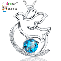 StrollGirl 925 Sterling Silver Chain Pendant Necklace Fashion Jewelry Necklaces&Pendants For Women Friends N The dove of peace