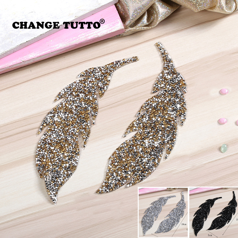 2019Rhinestones Leaves Feather Embroidered Patch Iron On Sewing Crystal Applique For Jeans Clothing Decorations Sticker Clothes