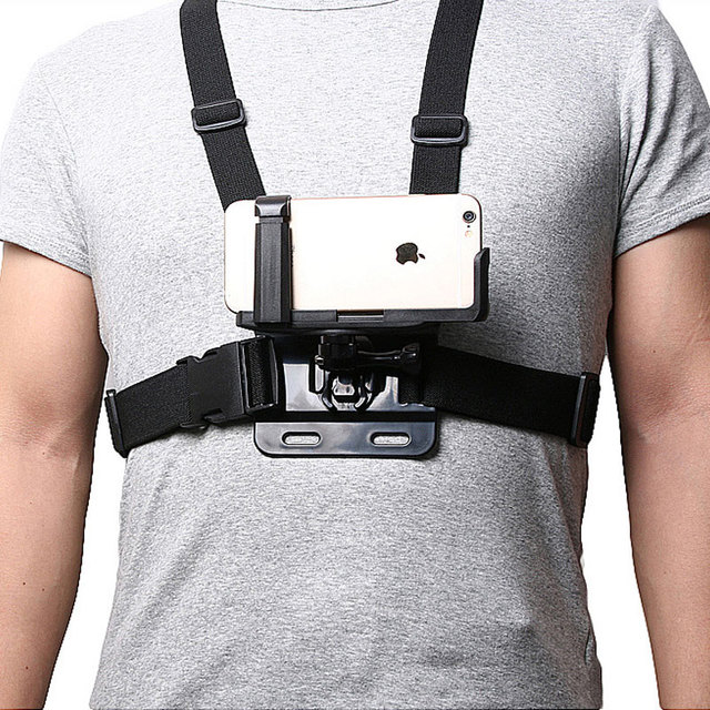 buy online ef196 c5e23 Chest Strap Mount with Phone Clip Bracket Universal for iPhone X/8/7 Plus/6  6 6Plus Huawei Samsung Outdoor Sports Phone Shooting