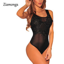 Ziamonga New Sexy Mesh Bodysuit Top Lace Flower Embroidery Body Top Women Ladies Sheer Bodysuit Plus Size 6 Colors M L XL C2856(China)