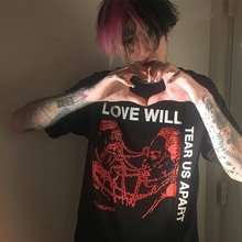 HAHAYULE Love Will Tear Us Apart Graphic Tee Unisex Tumblr Fashion Grunge Black Tee Hipsters Punk Style Top(China)