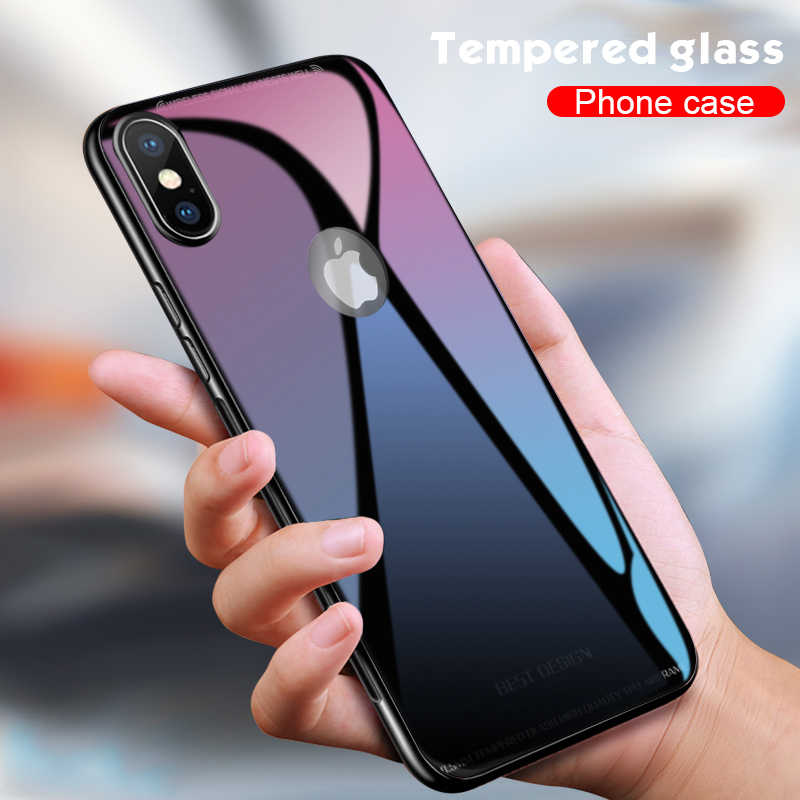 Luxury Shockproof Tempered Glass Case For iphone XS Max XR X 8 7 6 6s Plus 10 Soft TPU Edge Bumper Case Back Cover Coque Fundas