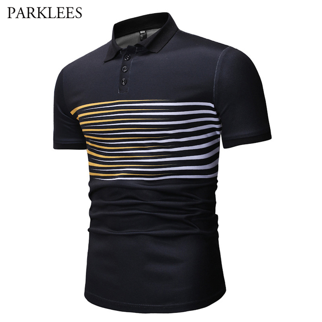 c05a1bbab Mens Hipster Striped Polo Shirt Casual Slim Fit Short Sleeve Black Polo  Shirts For Men 2019