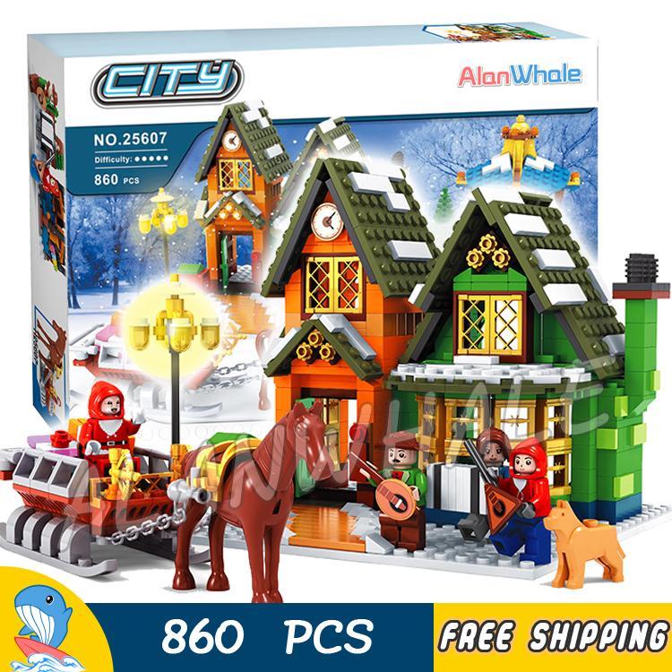 860pcs Alanwhale Winter Village Post Office City Advent Calendar Christmas Model Building Blocks Bricks Toy Compatible With Lego недорого