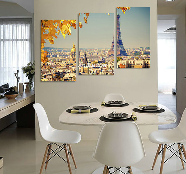 3 piece Eiffel Tower photo famous artwork Picture Prints Modern abstract decorated painting set on canvas