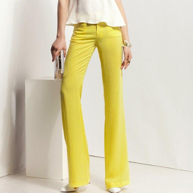 5c4e46b7ec 2018 mujer casual algodón Lino Pantalones verano chic Mujer delgada de lino  Flare pierna Pantalones señora