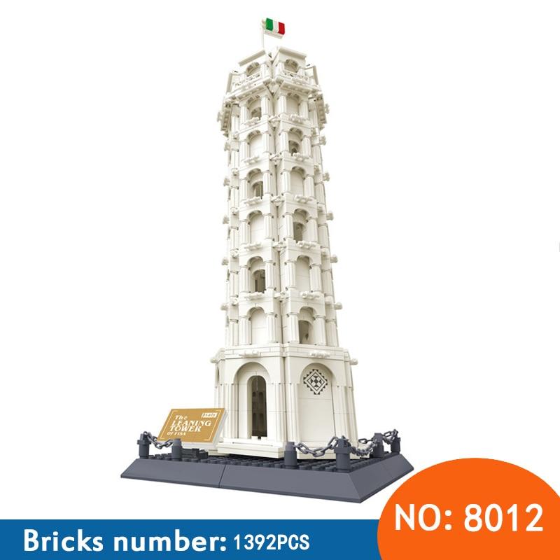 Wange 8012 Pisa Leaning Tower Building Block Structure Building Blocks Kids Educational Toy Wange Block Gift Toys For Children