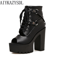AIYKAZYSDL 2018 Women Gladiator Sandals Ankle Boots Lace Up Peep Toe PU Leather Bootie Platform Block Ultra High Heel Creepers