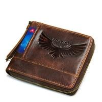 New Luxury Men Wallet Oil Wax Cowhide Genuine Leather Wallets Coin Purse Clutch Hasp Open Top Quality Retro Short Wallet