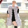 90 CM Natural Real da Pele De Fox Coletes Novo 2016 Inverno Longos e Grossos mulheres Casaco De Pele Genuína com Bolsos Reais Casacos De Pele Colete Feminino