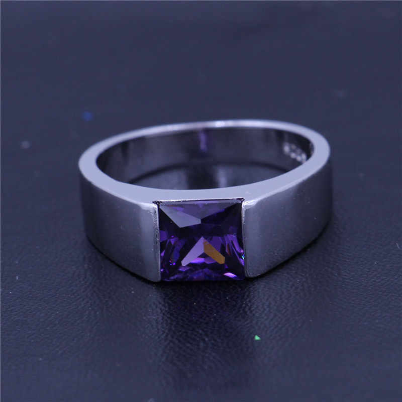 Vecalon, 4 цвета, мужские кольца с камнем рождения, огранка принцессы, 3ct, 5A, циркон, Cz, серебро 925 пробы, обручальное кольцо для мужчин