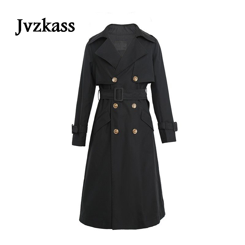 Jvzkass Black windbreaker female long section 2018 spring jacket happy song 2 with the same paragraph double-breasted tide Z74