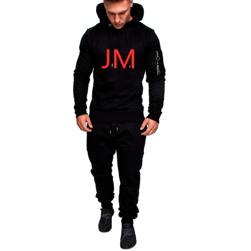 JM Tracksuit Men's Sportswear Spring Hooded Autumn Hoodies Track Suit Male Pullover Pants Casual Fleece Solid Color Sweatshirts