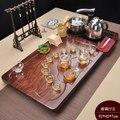 Lila Sand KungFu Tee Set Tee Zeremonie Hause Einfache Massivholz Tee Tablett Keramik Teekanne Gaiwan Teetasse Induktion herd Tee tabelle|Teegeschirr-Sets|Heim und Garten -