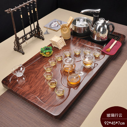 Purple Sand KungFu Tea Set Ceremony Home Simple Solid Wood Tray Ceramic Teapot Gaiwan Teacup Induction cooker Table