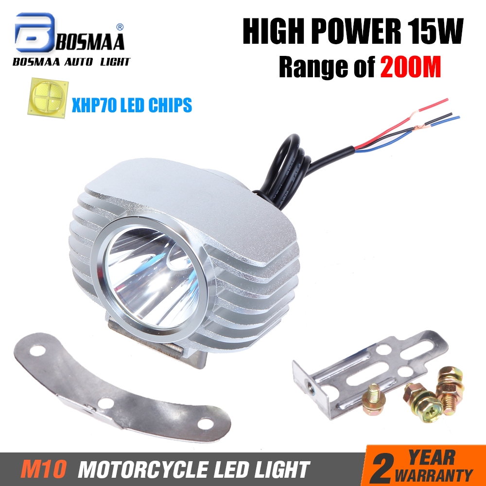Bosmaa LED-forlygte Motorcykelsvamp DRL-forlygte Spotlight Hunting Driving Spot Light 6W / 15W 2400LM w / CREE-XHP70 Chips 1 sæt