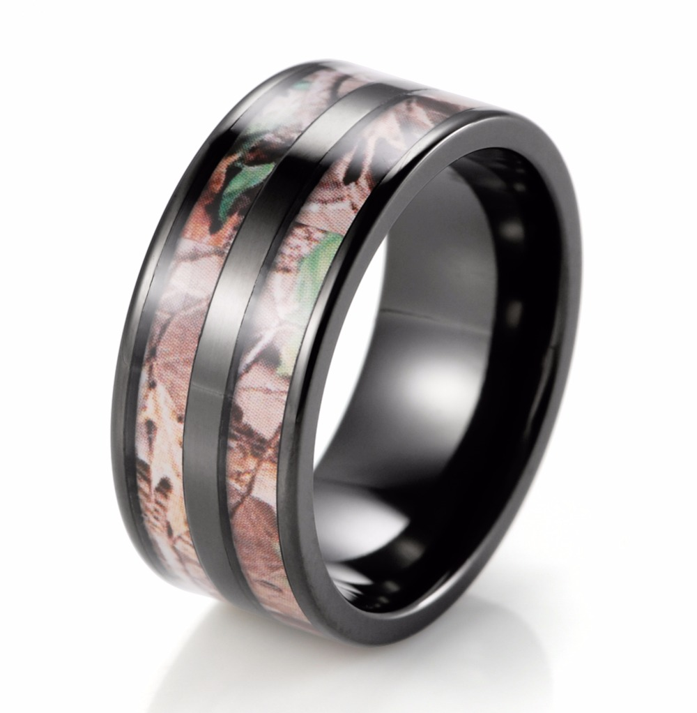 mens wedding band camouflage carbon fiber stainless steel mens camo wedding bands Hover to zoom