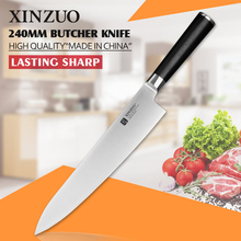 XINZUO 9.5 inch butcher knife 3-layer 440C clad steel chef knife kitchen knives G10 handle Japanese cleaver knife free shipping