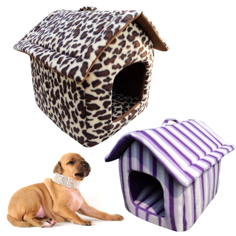 Pets Kennel Nests Pet Dog Cat Bed Sofas Home Shape Pet House With Removable Cotton Mat Puppy Teddy Sleeping Warm washable N 2
