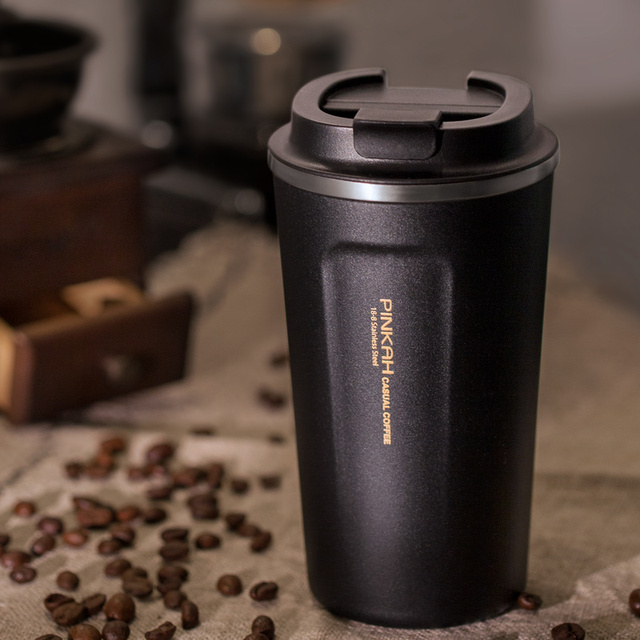 Pinkah 380 & 500ml 304 Stainless Steel Thermo Cup Travel Coffee Mug with Lid Car Water Bottle  Vacuum Flasks Thermocup for Gift  1
