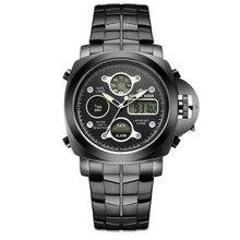 Роскошные часы стали двойное движение часы светящиеся часы Мужчины Военные Наручные Часы Спортивные Часы Relogio Masculino