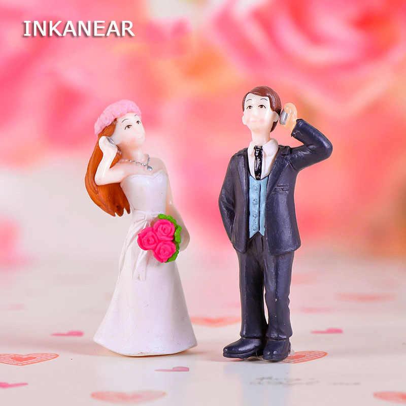 INKANEAR Mini Calling Bride And Groom Marriage Room Fairy Garden Miniatures Decor Terrarium Action Figurine DIY Car Ornament Toy