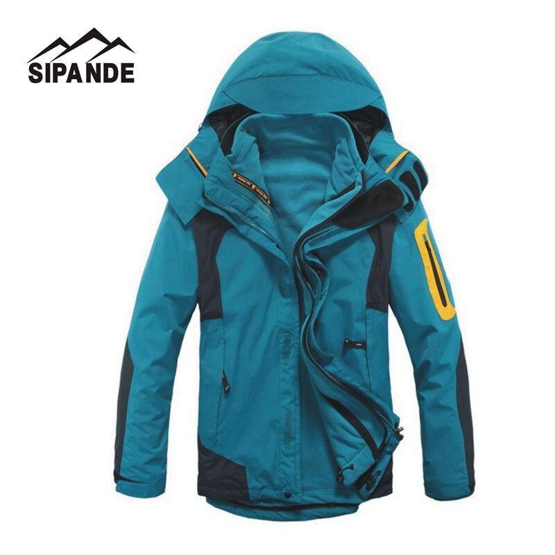Men's Winter Windbreaker Hiking Jackets Waterproof Outerwear Sport Hoodied Camping Trekking 2 In 1 Warm Coats