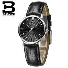 Switzerland BINGER women watches luxury brand quartz  genuine leather strap ultrathin Wristwatches Waterproof B3051W-5