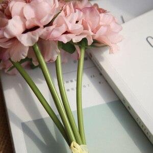Image 3 - Rosa seide hortensien künstliche blumen hochzeit blumen für braut hand seide blühende pfingstrose gefälschte blumen weiß hause dekoration