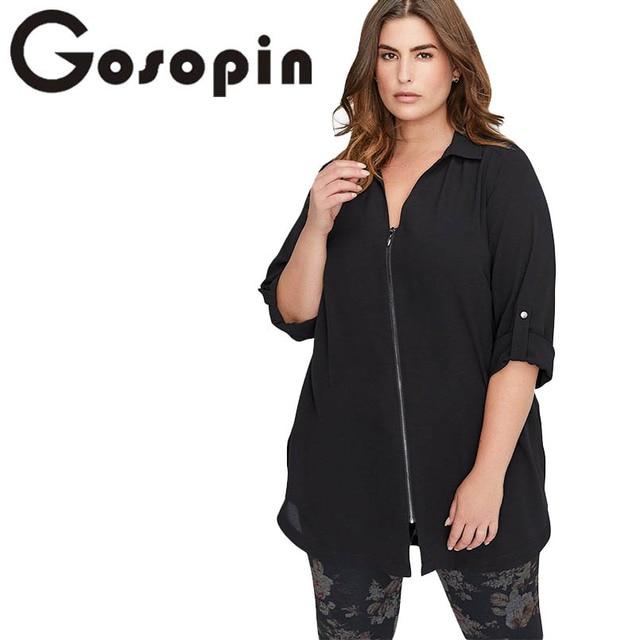 878cd07726a10a Gosopin Plus Size Zip Down Chiffon Blouse Women Shirt Casual 4xl Big Size Ladies  Tops Long Sleeve Tee Shirt Femme Blusas 251535