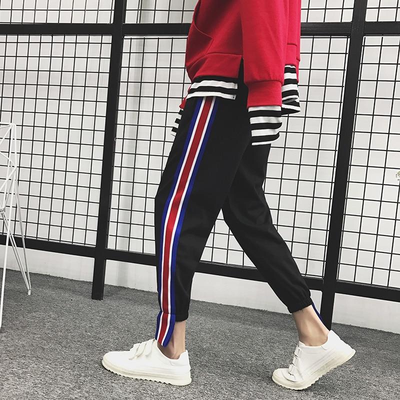 2018 Mens New stripe Printing Cotton Loose Casual Haren Pants Trousers Active Elastic Harem Hip Hop Joggers Sweatpants 2XL