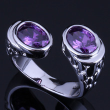 Outstanding Double Oval Purple Cubic Zirconia 925 Sterling Silver Ring For Women V0628