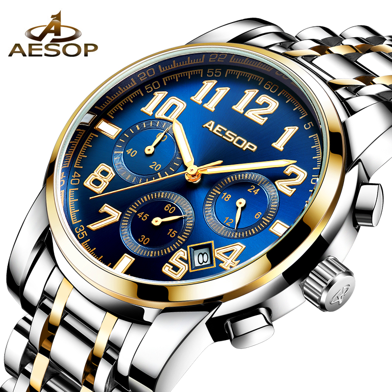 AESOP Dress Men Watch Quartz Wristwatch Stainless Steel Band Male Clock Wrist Shockproof Waterproof Relogio Masculino Hodinky цена