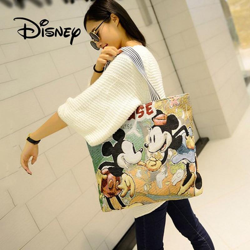 2019 Hot Disney Fashion Cute Cartoon Plush Mickey Mouse Bag Women's One-Shoulder Shoppingbags Handbag Foldable Stich Bag